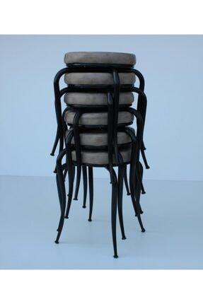 SİVAS GÖZDE MOBİLYA Ahtapot Tabure Nubuk Kumaş Metal Boyalı Ayaklı 6 Adet Set