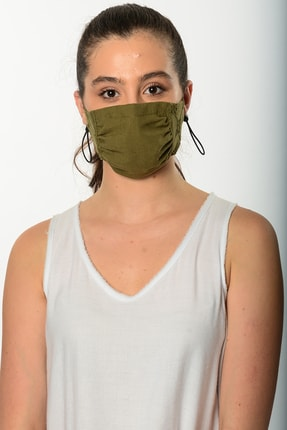 Etnik Esintiler Haki Dantelli Maske   3005