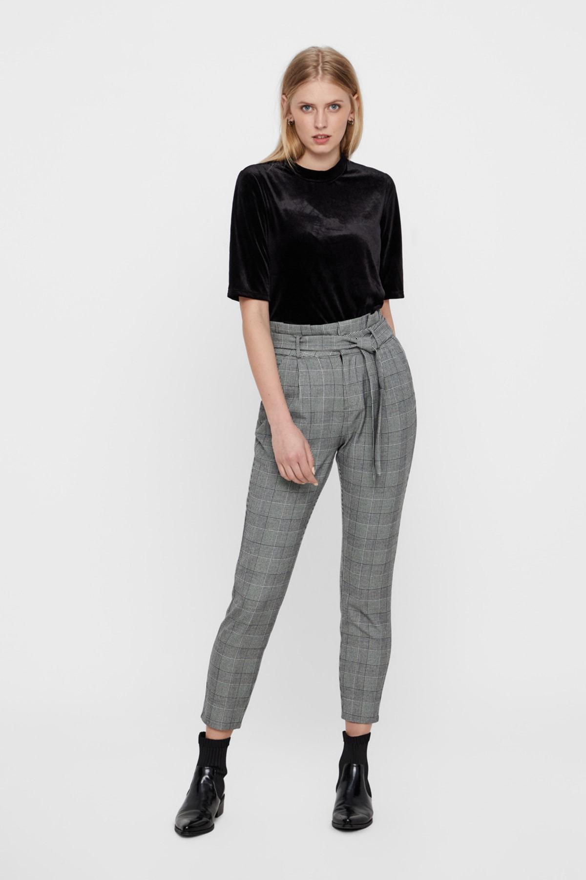 Vero Moda Kadın Gri Kareli Paperbag Bel Kumaş Pantolon 10209834 VMEVA 1