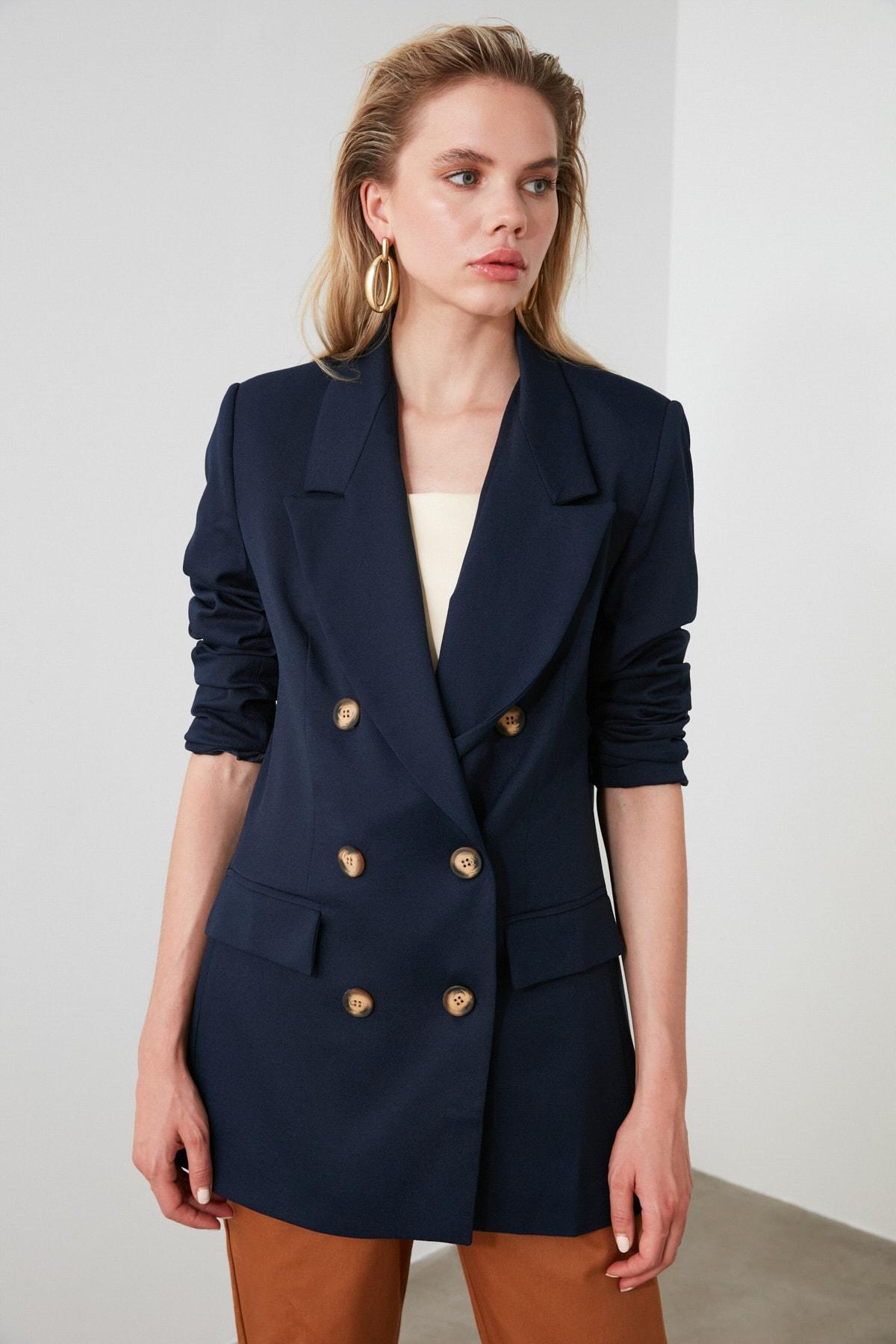 TRENDYOLMİLLA Lacivert Oversize Blazer Ceket TWOSS19WX0039 1