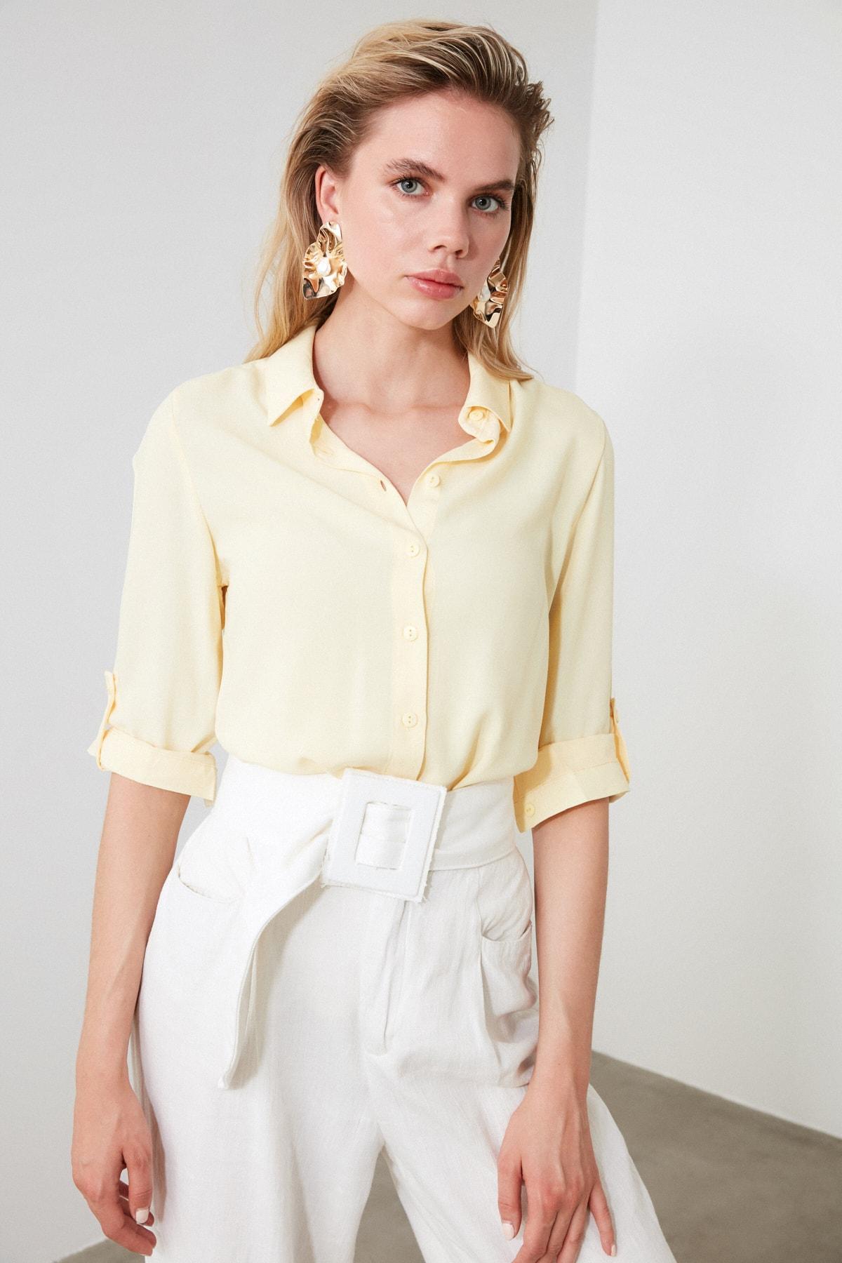 TRENDYOLMİLLA Sarı Basic Gömlek TWOSS19ST0226 1