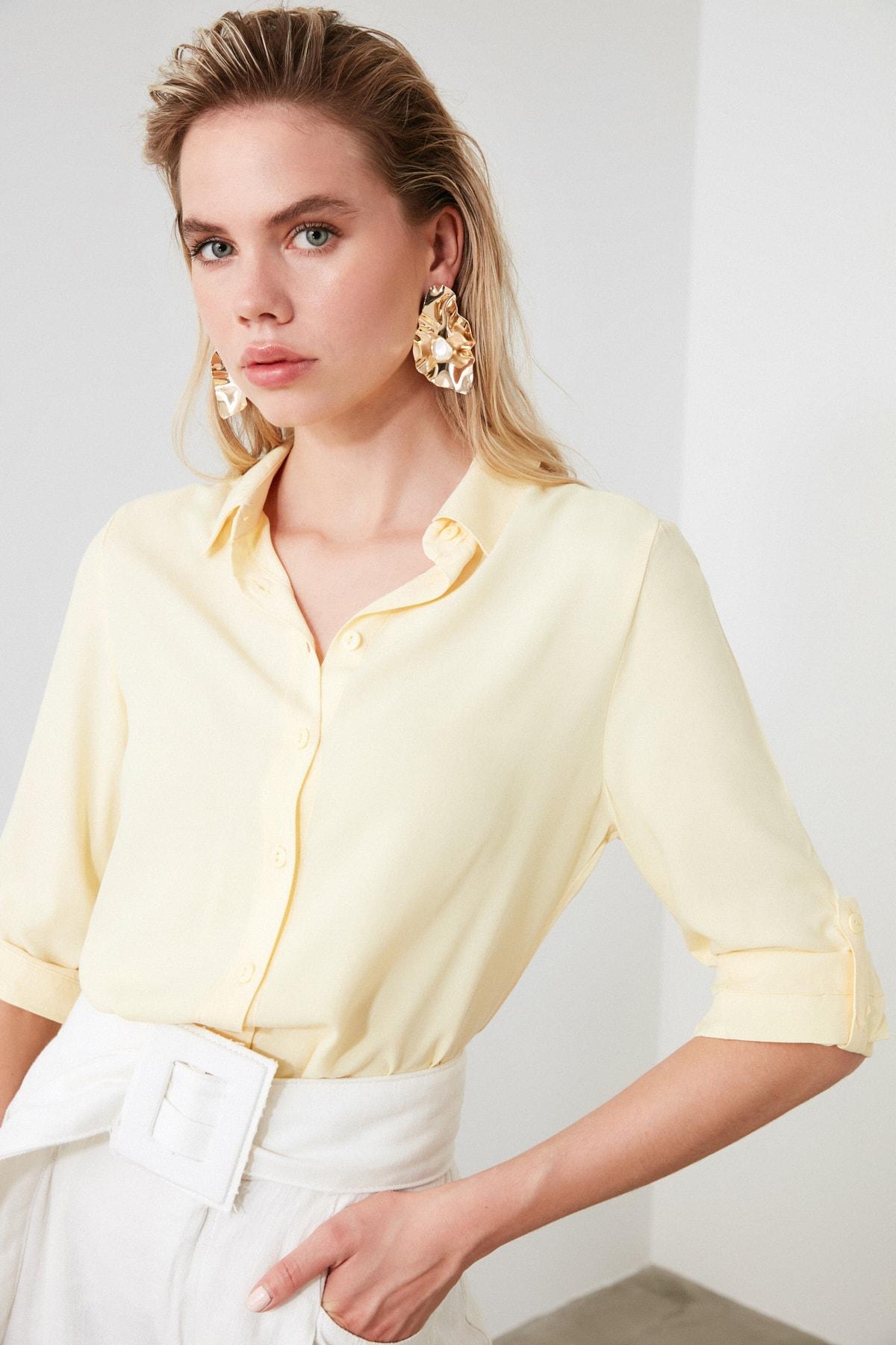 TRENDYOLMİLLA Sarı Basic Gömlek TWOSS19ST0226 2