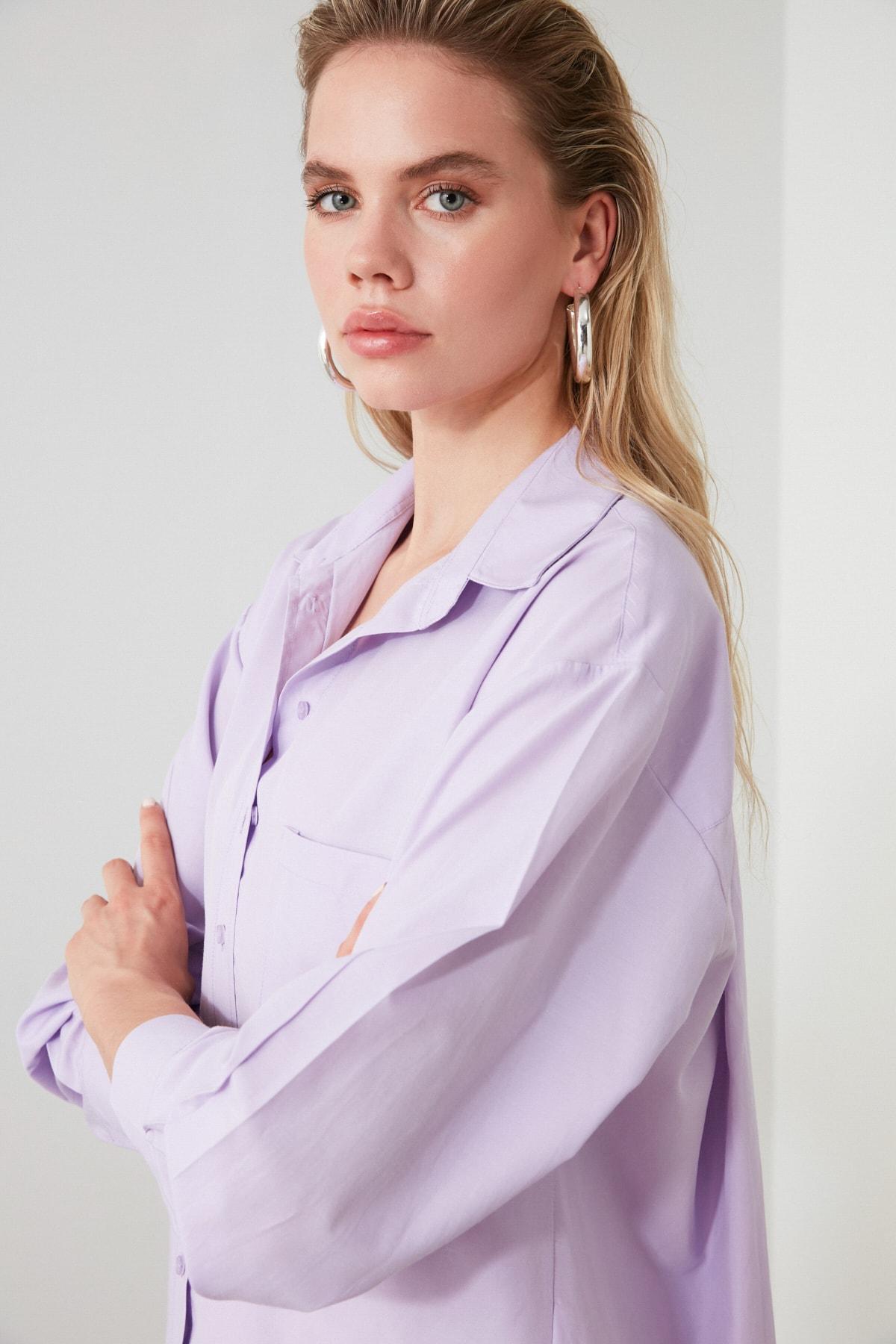 TRENDYOLMİLLA Lila Boyfriend Gömlek TWOAW20GO0115 2