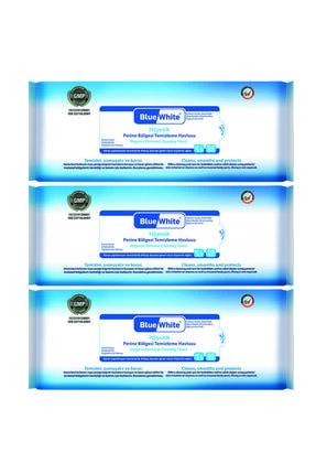 Mavi beyaz Blue White Antibakteriyel Perine Bölgesi Vücut Temizleme Havlusu Mendili 50li 3 Paket 150 Kullanım