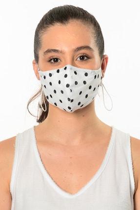 Etnik Esintiler Beyaz Puantiyeli Maske
