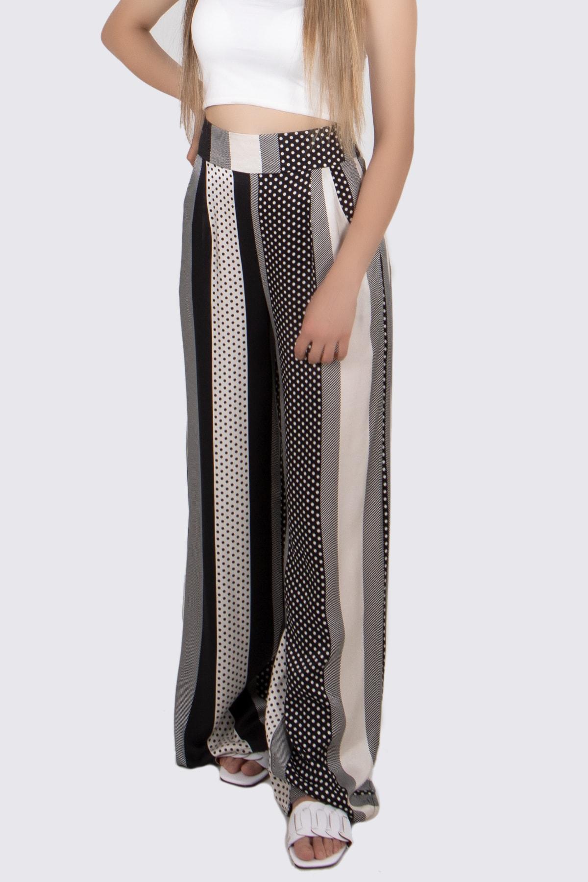 BSL Kadın Siyah Beyaz Desenli Pantolon 1