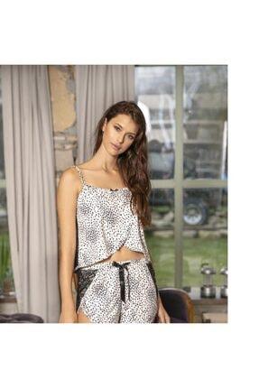 Anıl 5721 Leopar Desenli Dantelli Atlet Şort Pijama Takım