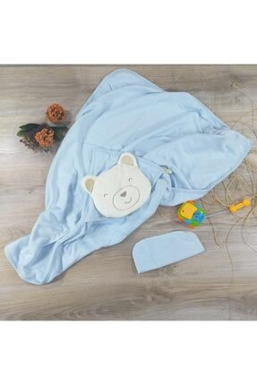 POKY BEBE Bebessi-2655 Bebek 95*85 Cm Ayıcık Kafalı Banyo Havlusu Bornoz-el Kesesi
