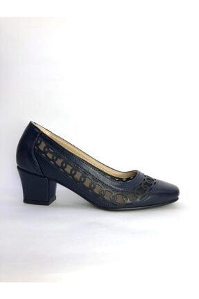 Büşra Sultan Ayakkabı Lazerli Fileli Topuklu Ayakkabı Lacivert