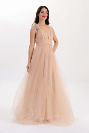 Lenta Moda Kadın Ten Rengi Tül Abiye Balo Elbisesi