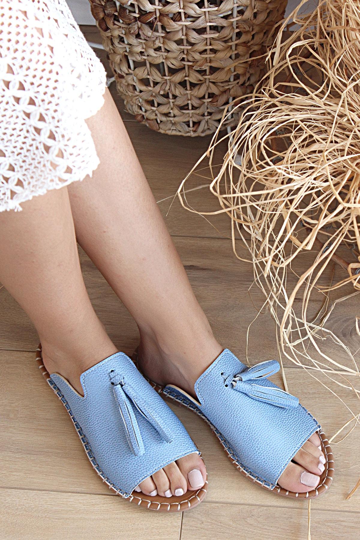 Pembe Potin Kadın Mavi Sandalet 2