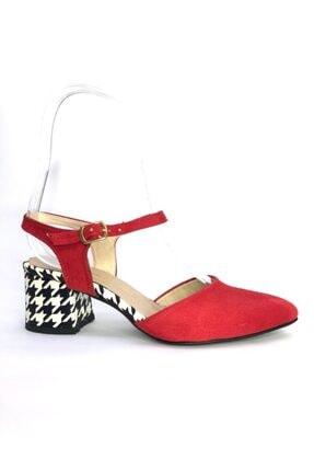 Büşra Sultan Ayakkabı Bilekten Bağlamalı Topuklu Ayakkabı Kırmızı
