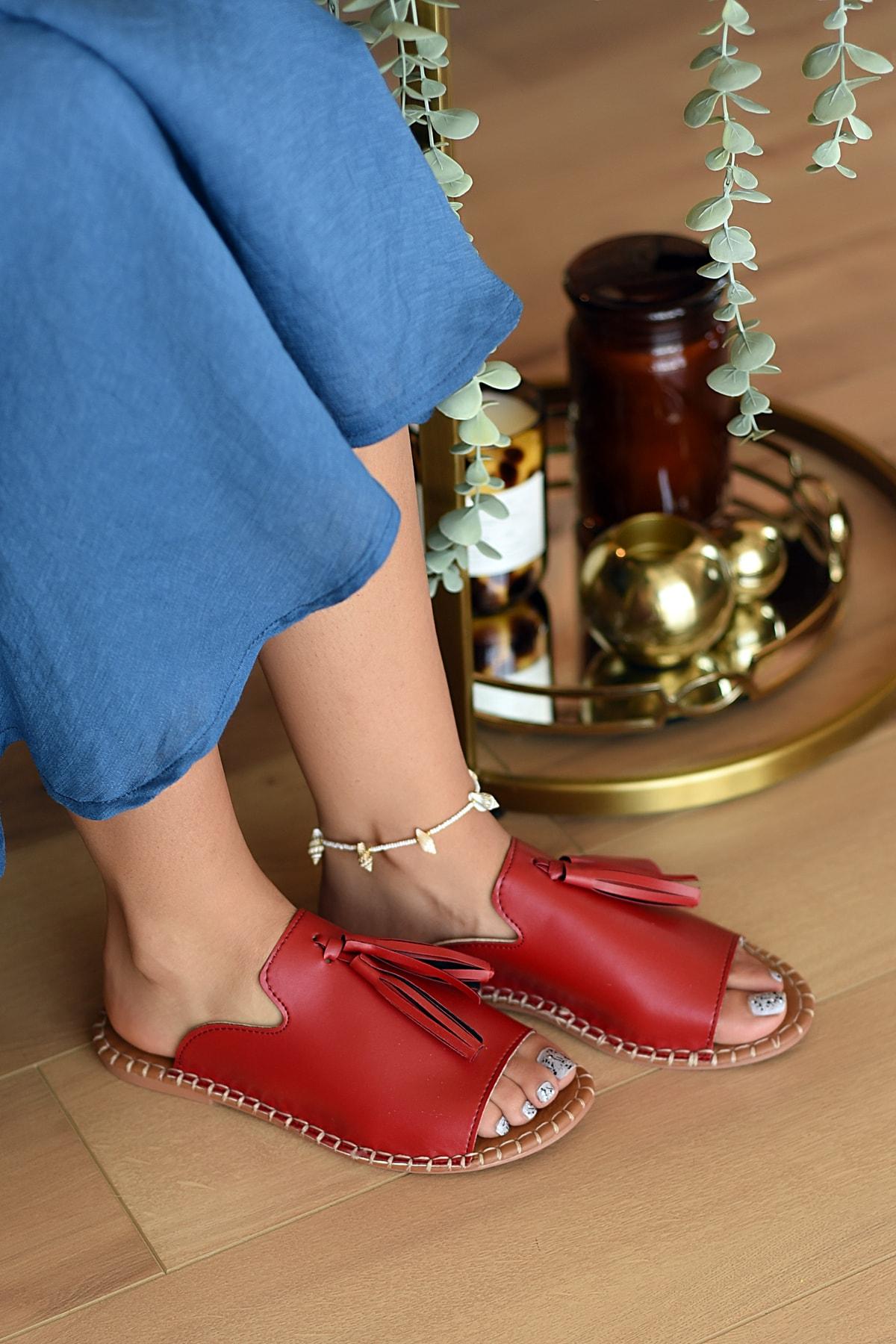 Pembe Potin Kadın Kırmızı Sandalet 2