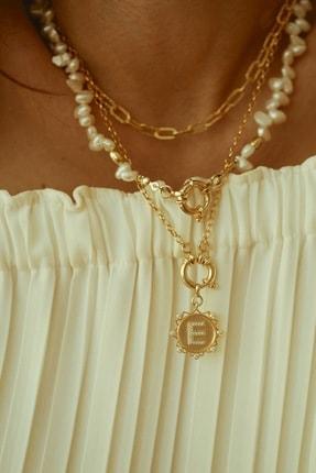 LİNYA JEWELLERY Kadın Gold E Kilitli Taşlı Harf Madalyon