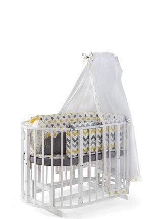 bamgidoo Play Lake Beyaz Bebekle Büyüyen Anne Yanı Ahşap Beşik 6 + 1 Set  0-8 Yaş %100 Kayın Ağacı