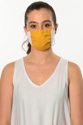 Etnik Esintiler Kadın Sarı Beyaz Yıkanabilir Maske