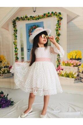 Mixie Ekru Şapkalı Tüllü Güpür Detaylı Kız Çocuk Elbisesi
