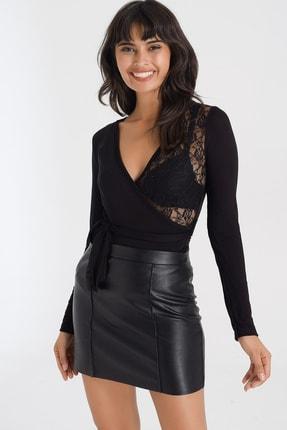 4over4 Dantelli Transparan Siyah Kadın Bluz