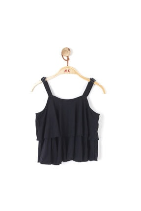 NK Kız Çocuk Siyah Kat Katlı Askılı Bluz