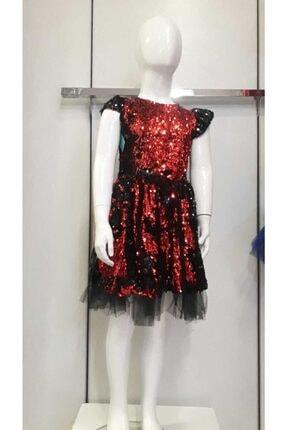Bella Kız Çocuk Kırmızı Payetli Elbise