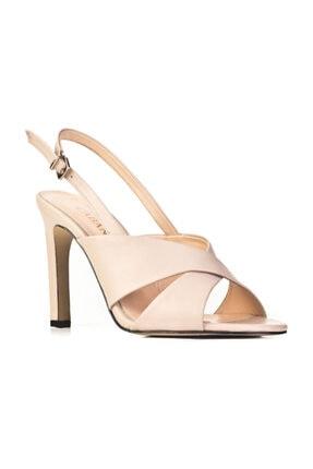 Cabani Ince Topuklu Çapraz Görünümlü Toka Detaylı - Kadın Ayakkabı Vizon Deri 10 cm