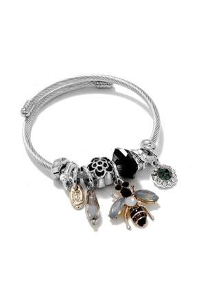 Pandora Kadın Siyah Arı Charmlı Gümüş Tarzı Şık Bileklik