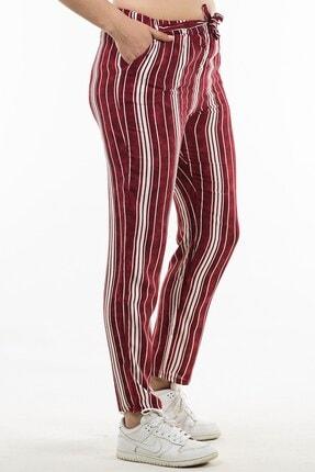Womenice Kadın Kırmızı Beli Lastikli Çizgili Pantolon