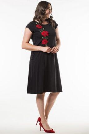 Womenice Kadın Siyah Büyük Beden  Yakası Çiçek Desenli Elbise