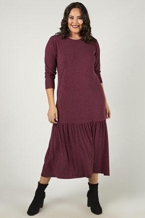 Womenice Kadın Büyük Beden Bordo Eteği Büzgülü Elbise