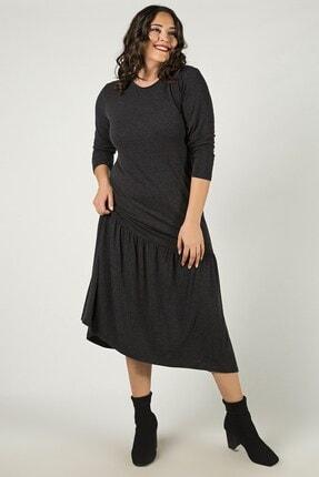Womenice Büyük Beden Siyah Eteği Büzgülü Elbise