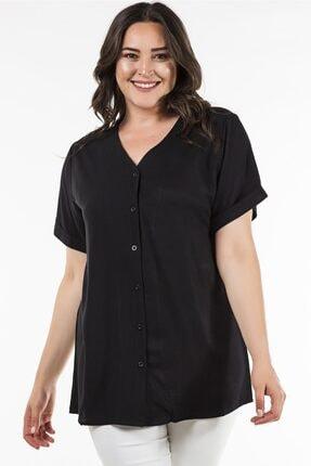 Womenice Kadın Büyük Beden Siyah Arkası Çapraz Gömlek