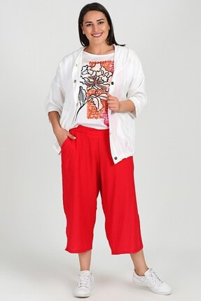 Womenice Büyük Beden Kırmızı Beli Lastikli Kapri Pantolon