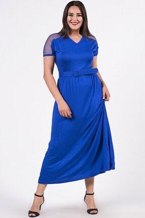 Womenice Kadın Mavi Büyük Beden Kolu File Detaylı Kemerli Kısa Kol Elbise