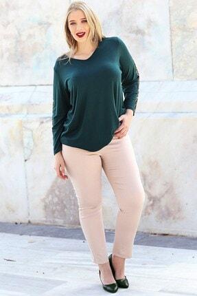 Womenice Kadın Krem Büyük Beden Beli Lastikli Fermuarlı Pantolon