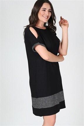 Womenice Kadın Siyah Eteği Kol Ucu Simli Elbise