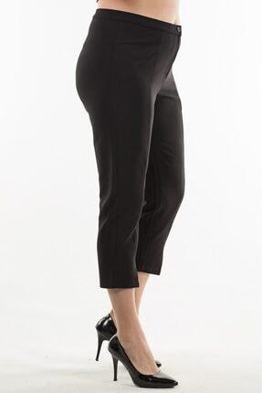 Womenice Kadın Siyah Paça Detaylı Kumaş Pantolon