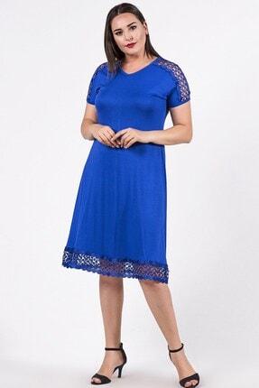 Womenice Kadın Büyük Beden Mavi Omuzu Eteği File Desenli Elbise