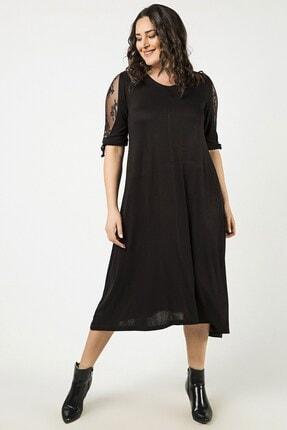 Womenice Siyah Kol Dantelli Elbise