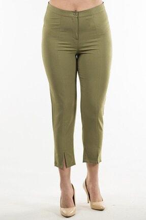 Womenice Kadın Haki Paça Detaylı Kumaş Pantolon