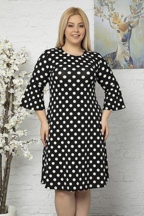 1fazlası Kadın Büyük Beden Volan Kol Punatiye Desenli Krep Kumaş Elbise