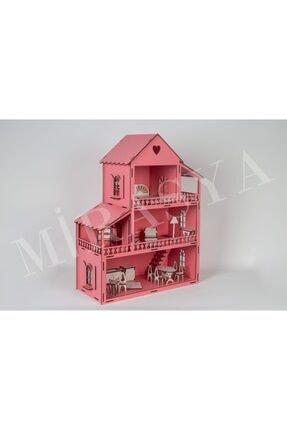 TURKAFONE Ahşap Barbi Çocuk Oyun Evi - 22 Parça Oyuncak (pembe) 60cm