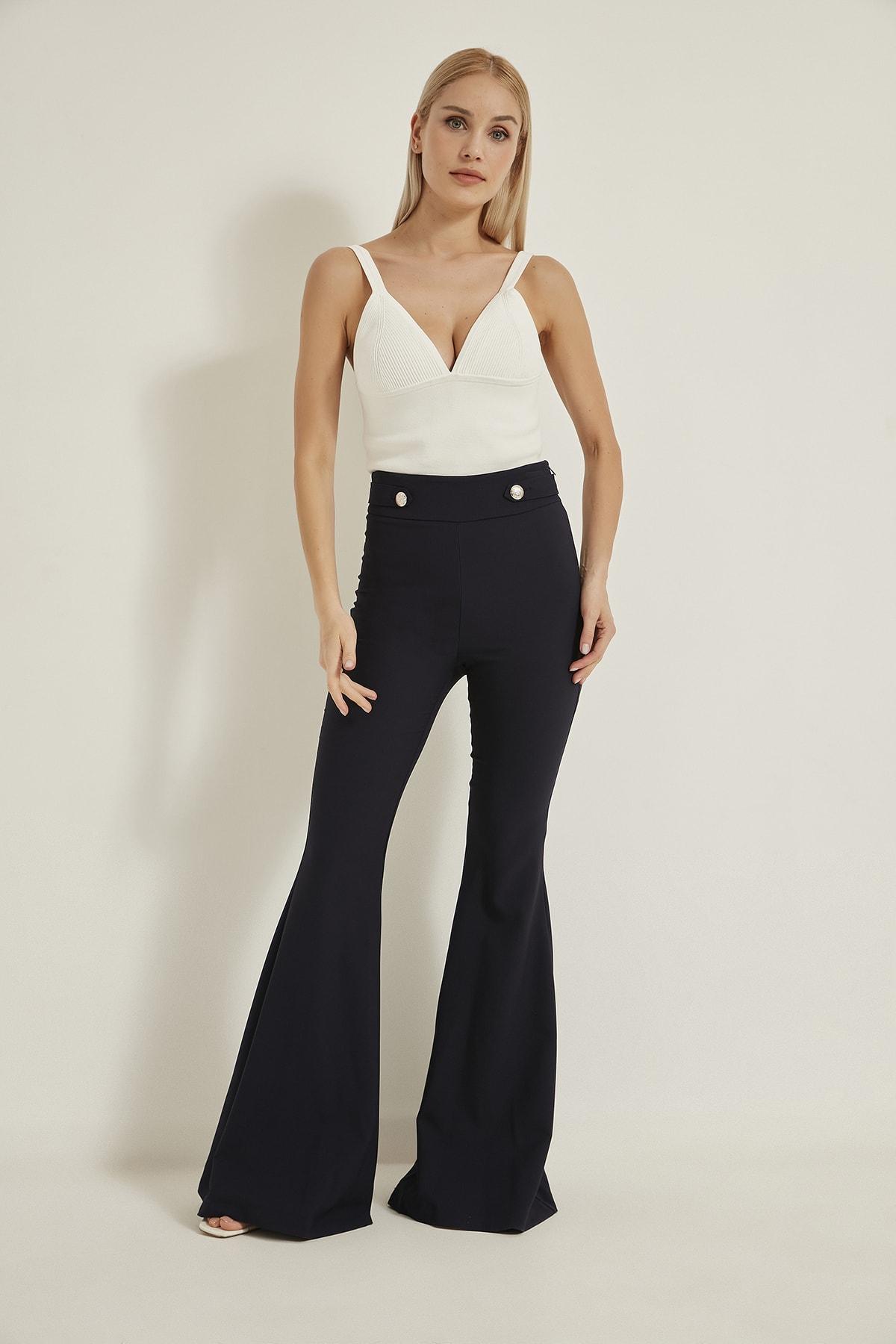 LA COSTUME Kadın Lacivert Ispanyol Paça Pantolon 2