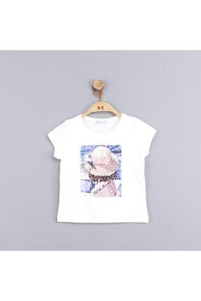 NK Kız Çocuk Krem Şapka Baskılı Pamuklu Tshirt