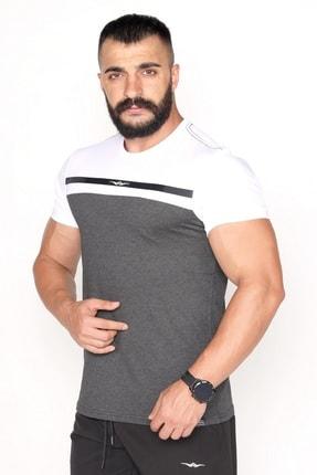 Bessa Sport Çift Renkli Bisiklet Yaka Süprem Kumaş Fosfor Baskı Detaylı Antrasit T-shirt