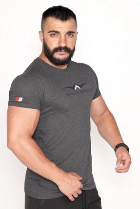 Bessa Sport Bisiklet Yaka Süprem Kumaş Fosfor Baskı Detaylı Antrasit T-shirt
