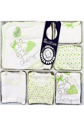 Bambino Tavşan Nakışlı Yeşil Puanlı 11'li Hastane Çıkış Seti