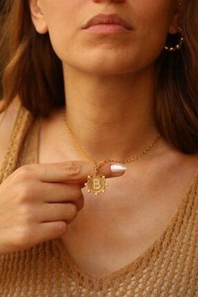 LİNYA JEWELLERY Kadın Altın B Harf Taşlı Düz Zincirli Madalyon