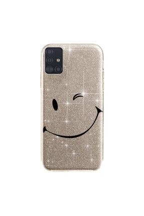 cupcase Samsung Galaxy A71 Kılıf Simli Parlak Kapak Altın Gold Renk - Stok313 - Smile
