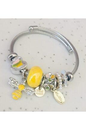 Pandora Kadın Sarı Anofel Charm Gümüş Tarzı Şık Bileklik