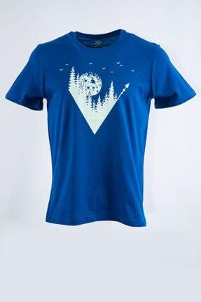 LONGFORD Unisex Saks Macera Baskılı Rahat Kesim T-shirt Lft07